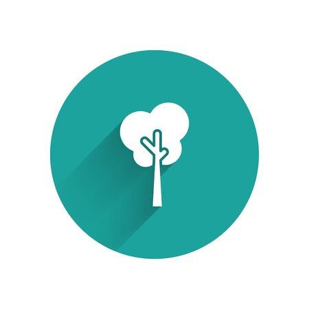 White Tree icon isolated with long shadow. Forest symbol. Green circle button. Vector Illustration Ilustracja