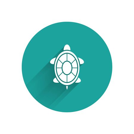 White Turtle icon isolated with long shadow. Green circle button. Vector Illustration Иллюстрация