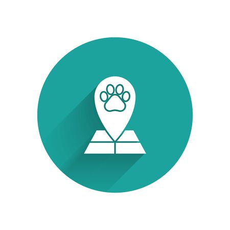White Map pointer with veterinary medicine hospital, clinic or pet shop for animals icon isolated with long shadow. Veterinarian clinic. Green circle button. Vector Illustration