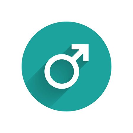 White Male gender symbol icon isolated with long shadow. Green circle button. Vector Illustration