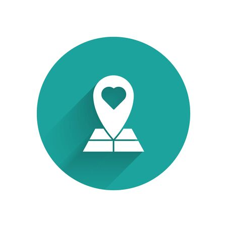White Map pointer with heart icon isolated with long shadow. Valentines day. Love location. Romantic map pin. Green circle button. Vector Illustration