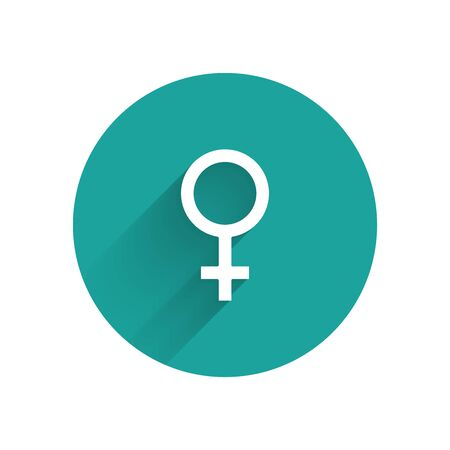 White Female gender symbol icon isolated with long shadow. Venus symbol. The symbol for a female organism or woman. Green circle button. Vector Illustration