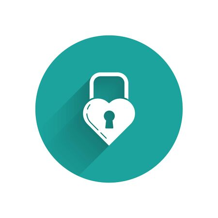 White lock in the shape of a heart icon isolated with long shadow. Locked Heart. Love symbol and keyhole sign. Green circle button. Vector Illustration Ilustração