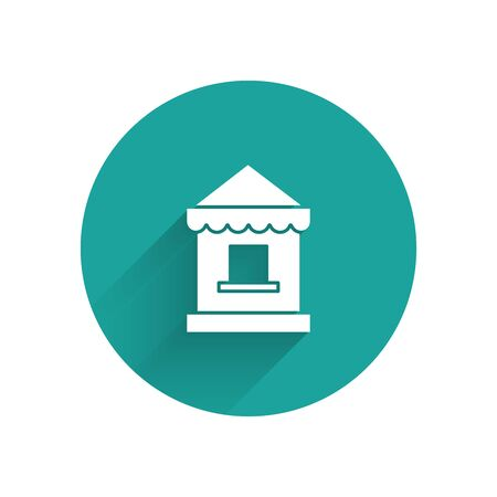 White Ticket box office icon isolated with long shadow. Ticket booth for the sale of tickets for attractions and sports. Green circle button. Vector Illustration