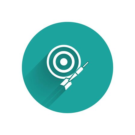 White Classic dart board and arrow icon isolated with long shadow. Dartboard sign. Game concept. Green circle button. Vector Illustration