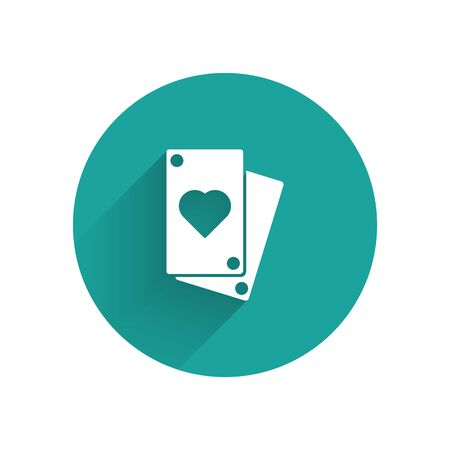 White Playing card icon isolated with long shadow. Green circle button. Vector Illustration Illustration