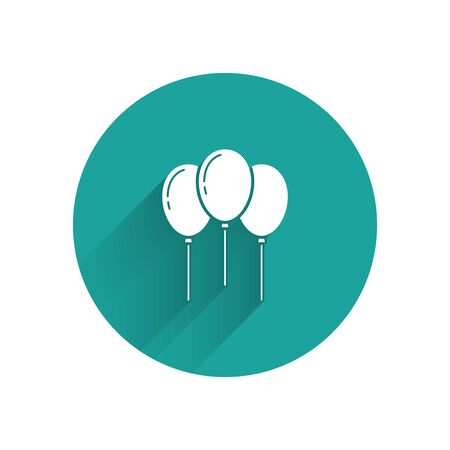 White Balloons with ribbon icon isolated with long shadow. Green circle button. Vector Illustration Illusztráció