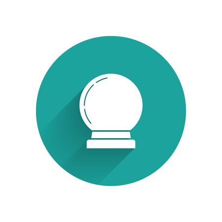 White Magic ball icon isolated with long shadow. Crystal ball. Green circle button. Vector Illustration