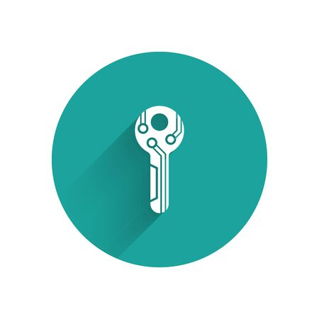 White Cryptocurrency key icon isolated with long shadow. Concept of cyber security or private key, digital key with technology interface. Green circle button. Vector Illustration Ilustração