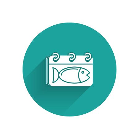 White Calendar with a fish icon isolated with long shadow. Day of fish. Green circle button. Vector Illustration  イラスト・ベクター素材