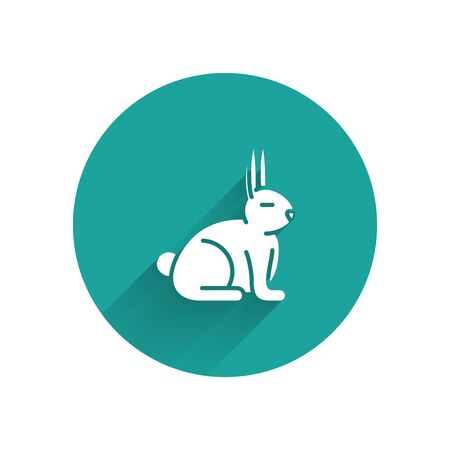 White Rabbit icon isolated with long shadow. Green circle button. Vector Illustration Ilustracja