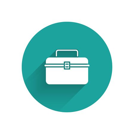 White Case or box container for wobbler and gear fishing equipment icon isolated with long shadow. Fishing tackle. Green circle button. Vector Illustration Illustration