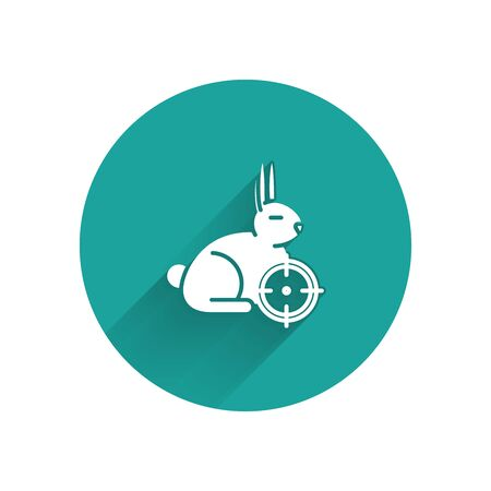 White Hunt on rabbit with crosshairs icon isolated with long shadow. Hunting club with rabbit and target. Rifle lens aiming a hare. Green circle button. Vector Illustration Ilustracja