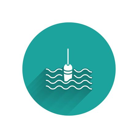 White Fishing float in water icon isolated with long shadow. Fishing tackle. Green circle button. Vector Illustration