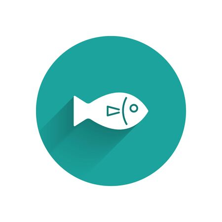 White Fish icon isolated with long shadow. Green circle button. Vector Illustration  イラスト・ベクター素材