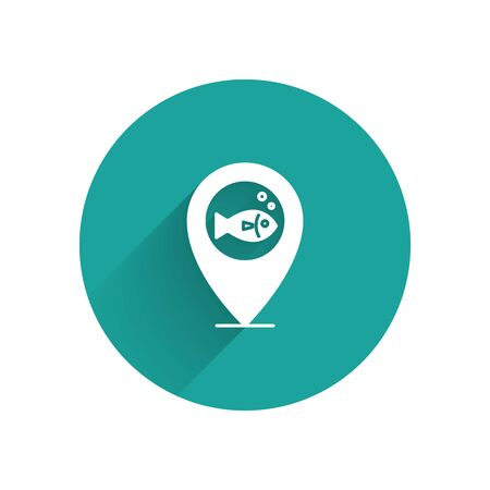 White Location fishing icon isolated with long shadow. Fishing place. Green circle button. Vector Illustration