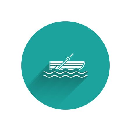 White Fishing boat with oars on water icon isolated with long shadow. Green circle button. Vector Illustration