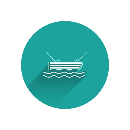 White Fishing boat with fishing rod on water icon isolated with long shadow. Green circle button. Vector Illustration