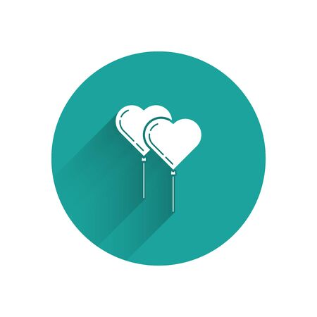 White Balloons in form of heart with ribbon icon isolated with long shadow. Green circle button. Vector Illustration