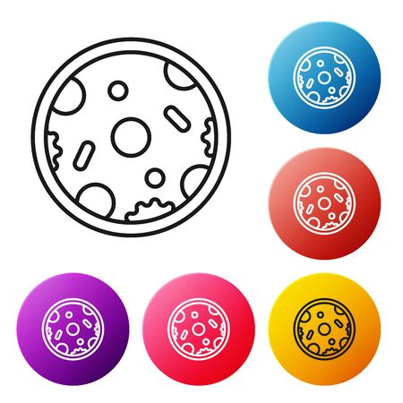 Black line Pizza icon isolated on white background. Fast food menu. Set icons colorful circle buttons. Vector Illustration