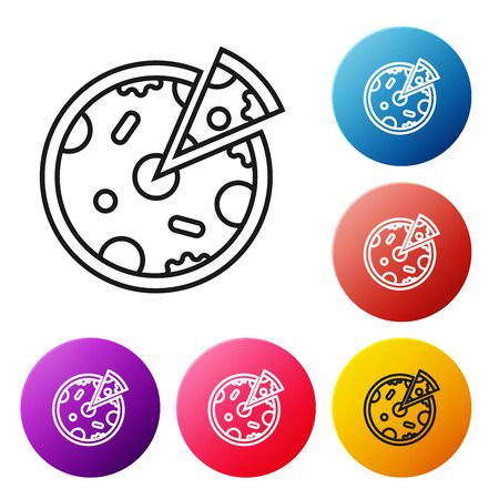Black line Pizza icon isolated on white background. Fast food menu. Set icons colorful circle buttons. Vector Illustration Фото со стока - 128661326