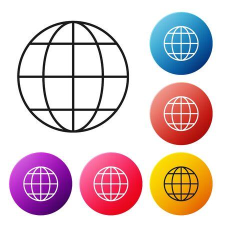 Black Line Earth Globe Icon Isolated On White Background