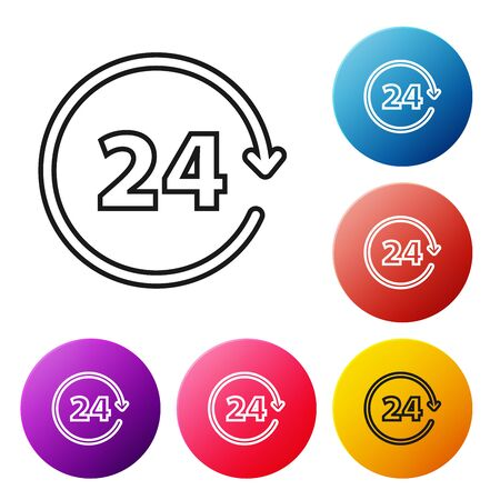 Black line Clock 24 hours icon isolated on white background. All day cyclic icon. 24 hours service symbol. Set icons colorful circle buttons. Vector Illustration