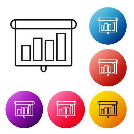 Black line Presentation financial business with graph, schedule, chart, diagram, infographic, pie graph icon isolated on white background. Set icons colorful circle buttons. Vector Illustration