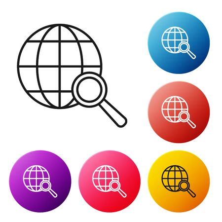 Black line Shield with check mark icon isolated on white background. Protection symbol. Security check Icon. Tick mark approved icon. Set icons colorful circle buttons. Vector Illustration Ilustração