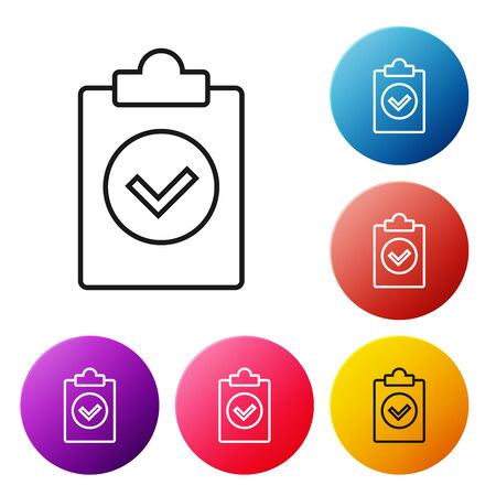 Black line Completed task icon isolated on white background. Compliance inspection approved. Checklist sign. Certified document symbol. Set icons colorful circle buttons. Vector Illustration