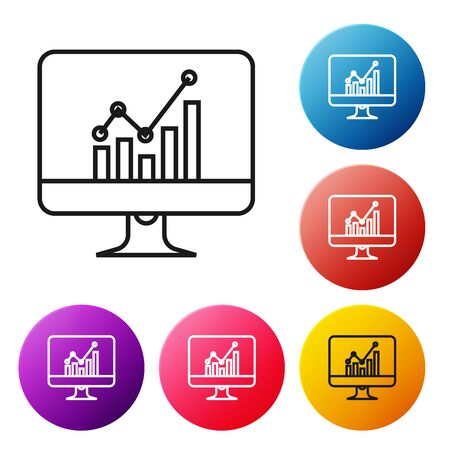 Black line Computer monitor with graph chart icon isolated on white background. Report text file icon. Accounting sign. Audit, analysis, planning. Set icons colorful circle button. Vector Illustration Ilustração
