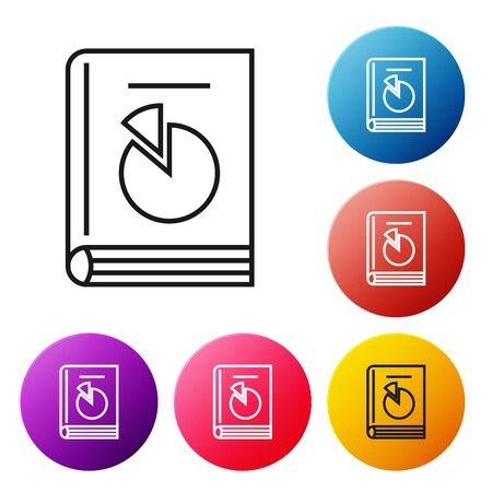 Black line User manual icon isolated on white background. User guide book. Instruction sign. Read before use. Set icons colorful circle buttons. Vector Illustration
