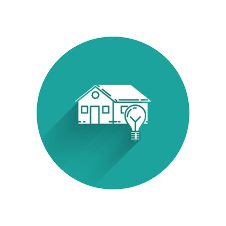 White Smart house and light bulb icon isolated with long shadow. Green circle button. Vector Illustration