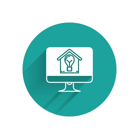 White Computer monitor with smart house and light bulb icon isolated with long shadow. Green circle button. Vector Illustration