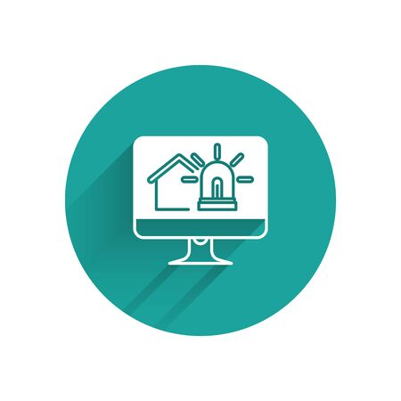 White Computer monitor with smart house and alarm icon isolated with long shadow. Security system of smart home. Green circle button. Vector Illustration