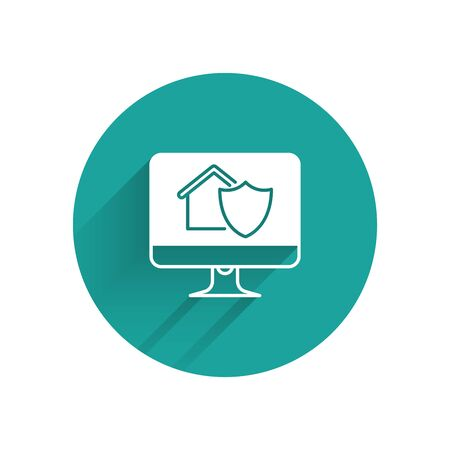 White Computer monitor with house under protection icon isolated with long shadow. Protection, safety, security, protect, defense concept. Green circle button. Vector Illustration