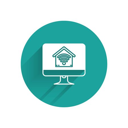 White Computer monitor with smart home with wifi icon isolated with long shadow. Remote control. Green circle button. Vector Illustration Ilustração