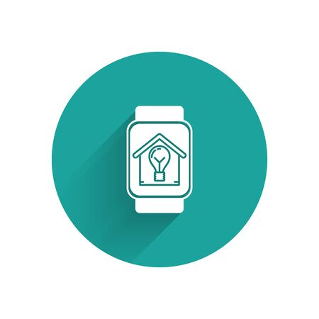 White Smart watch with smart house and light bulb icon isolated with long shadow. Green circle button. Vector Illustration Ilustração