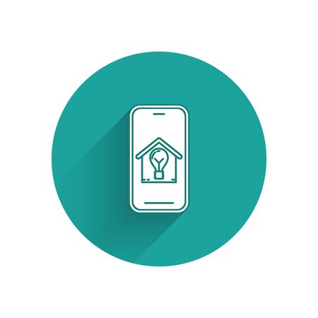 White Mobile phone with smart house and light bulb icon isolated with long shadow. Green circle button. Vector Illustration