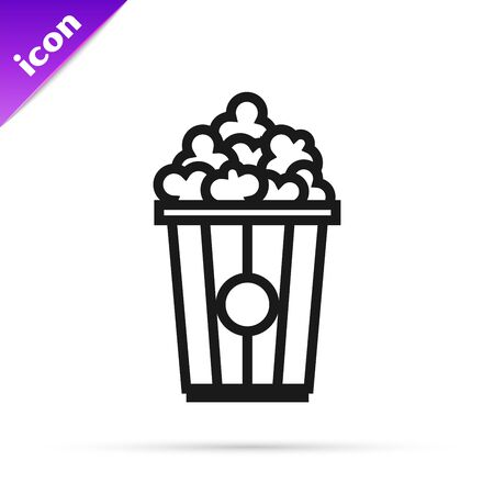 Black line Popcorn in cardboard box icon isolated on white background. Popcorn bucket box. Vector Illustration