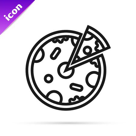 Black line Pizza icon isolated on white background. Fast food menu. Vector Illustration Фото со стока - 128661755