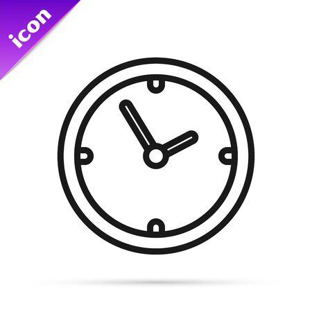 Black line Clock icon isolated on white background. Time symbol. Vector Illustration Illustration