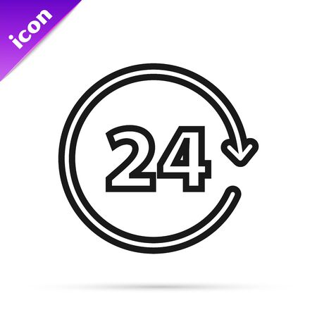 Black line Clock 24 hours icon isolated on white background. All day cyclic icon. 24 hours service symbol. Vector Illustration