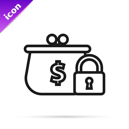 Black line Closed wallet with lock icon isolated on white background. Locked wallet. Security, safety, protection concept. Concept of a safe payment. Vector Illustration 矢量图像