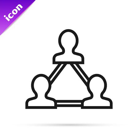 Black line Project team base icon isolated on white background. Business analysis and planning, consulting, team work, project management. Developers. Vector Illustration Ilustração