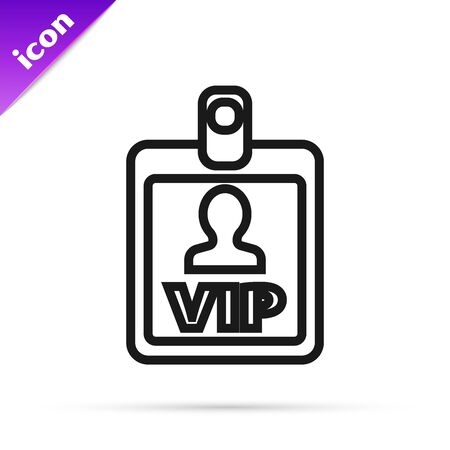 Black line VIP badge icon isolated on white background. Vector Illustration Illustration