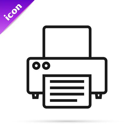 Black line Printer icon isolated on white background. Vector Illustration 矢量图像