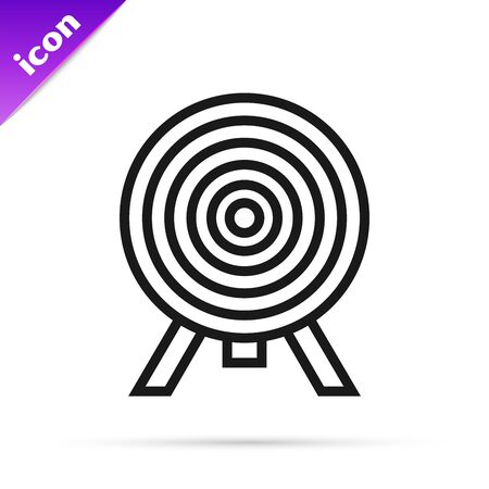 Black line Target icon isolated on white background. Dart board sign. Archery board icon. Dartboard sign. Business goal concept. Vector Illustration