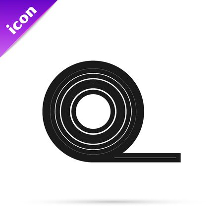 Black line Scotch icon isolated on white background. Roll of adhesive tape for work and repair. Sticky packing tape. Office tool and stuff. Vector Illustration 일러스트
