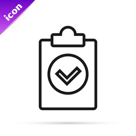 Black line Completed task icon isolated on white background. Compliance inspection approved. Checklist sign. Certified document symbol. Vector Illustration